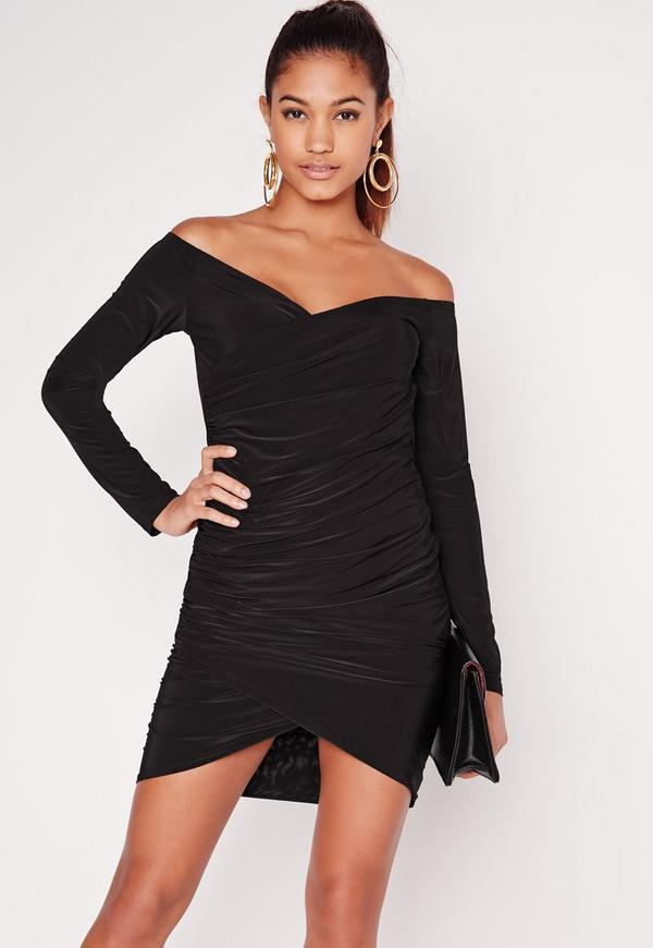 Slinky Bardot Bodycon Dress Black