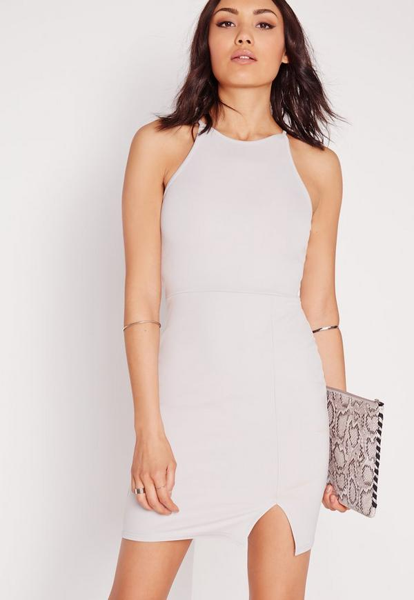 Square Neck Side Split Bodycon Ice Grey