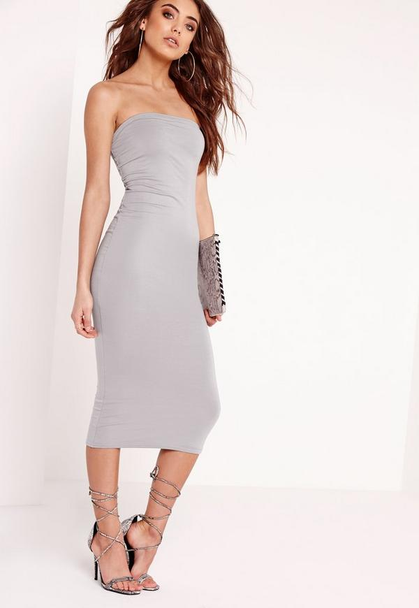 Jersey Bandeau Midi Dress Grey