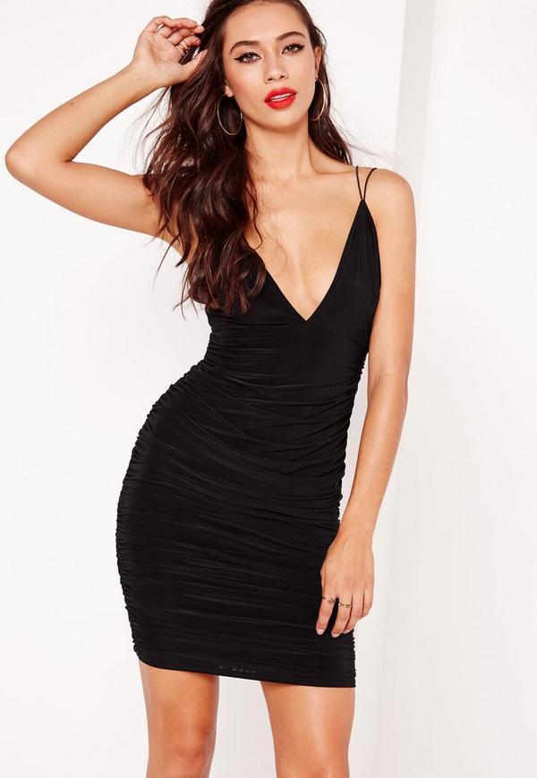 Slinky Double Strap Ruche Bodycon Dress Black