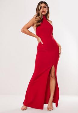 Robe longue rouge fendue à col montant