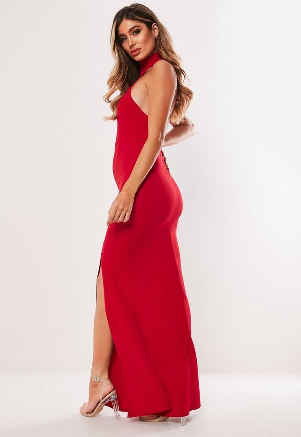Choker Maxi Dress Red
