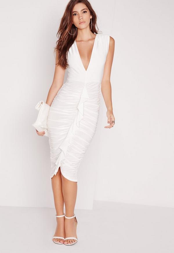 Slinky Ruffle Front Midi Dress White