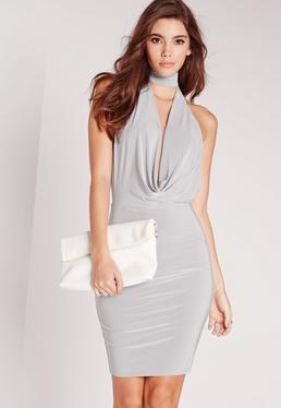 choker bodycon dress grey