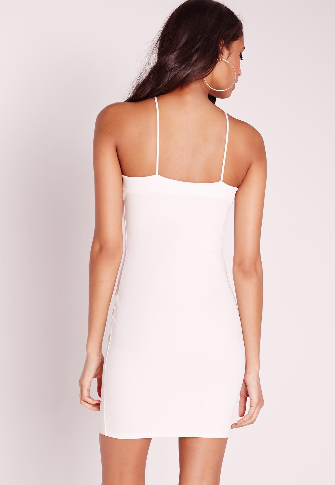 Crepe Strappy Cross Front Mini Dress White