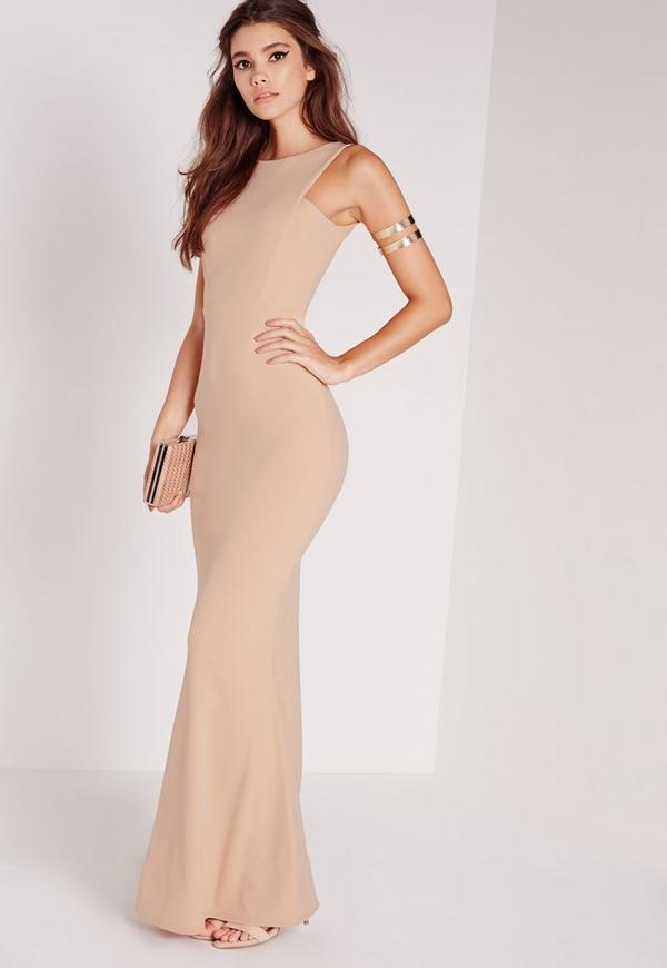 Low Back Maxi Dress Nude