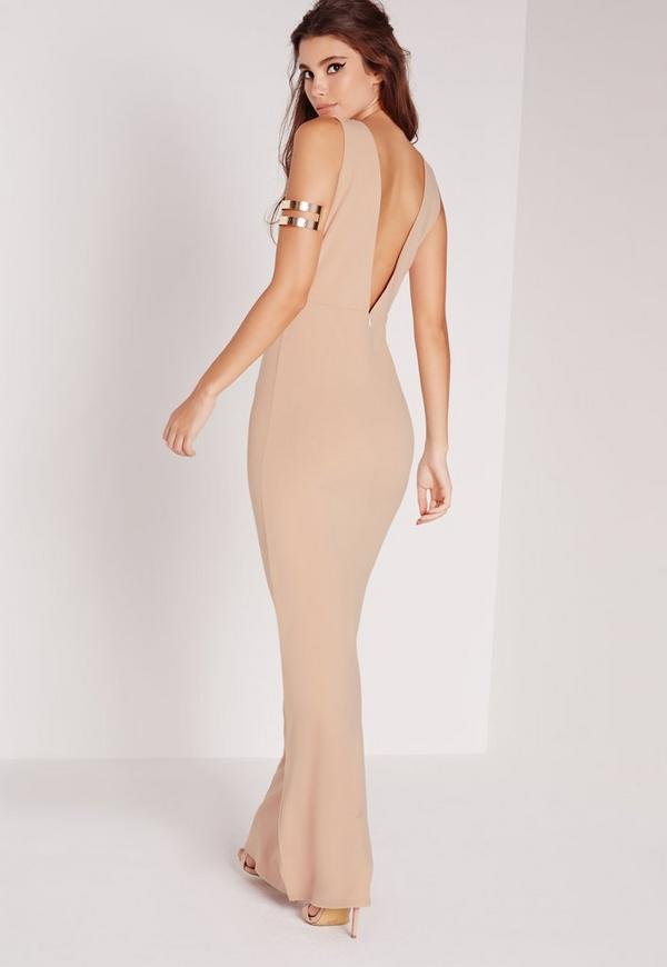 Low Back Maxi Dress Nude | Missguided