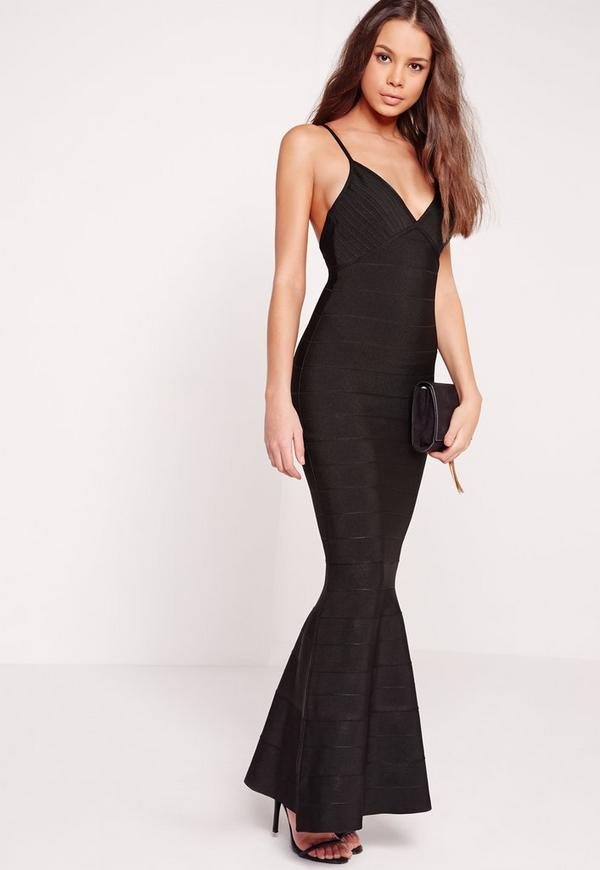 Strappy Bandage Maxi Dress Black