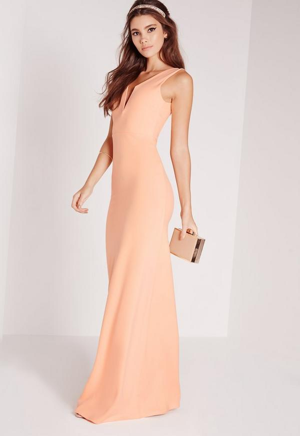 robe longue d collet e rose dos chancr missguided