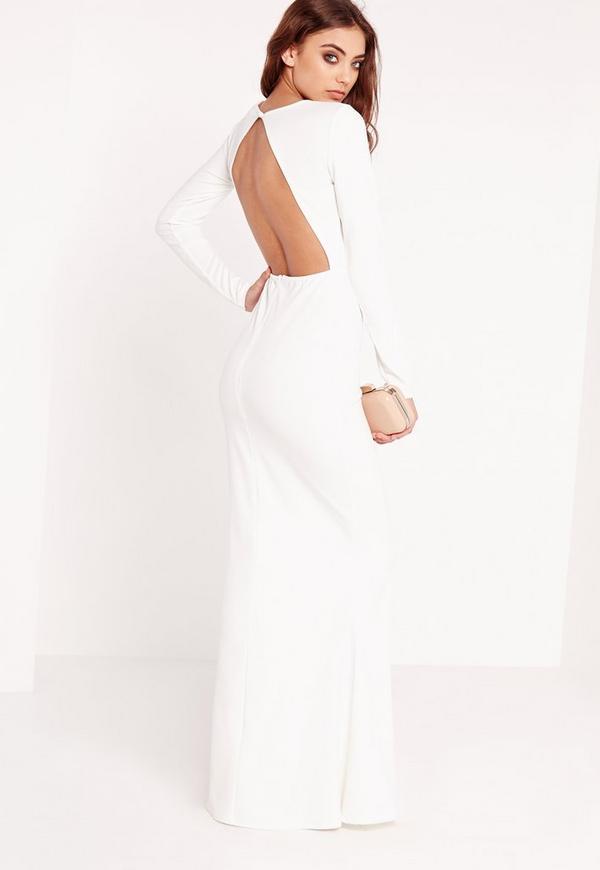Long Sleeve Open Back Maxi Dress White