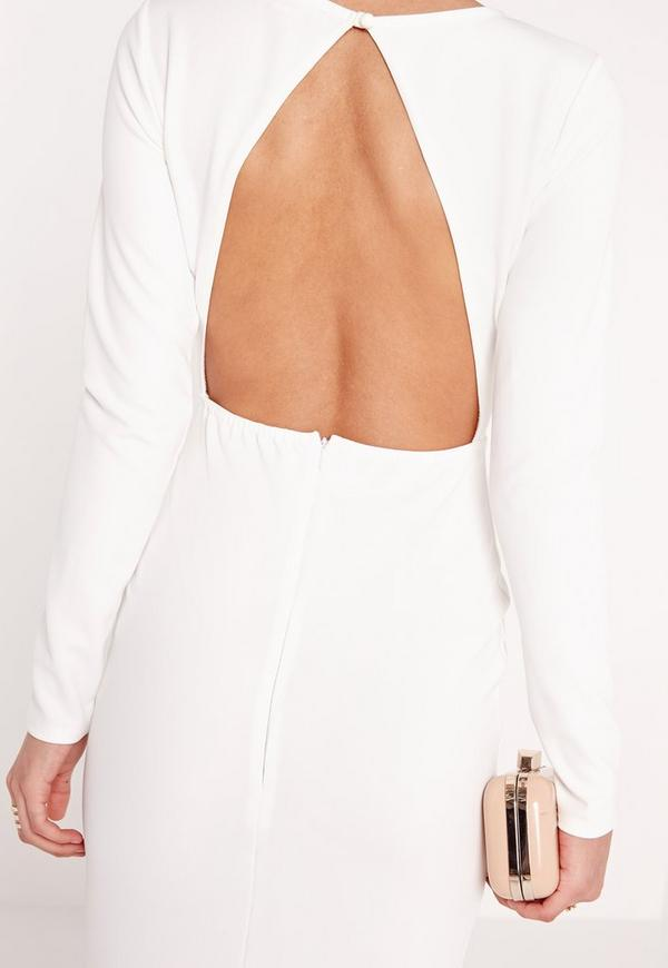 Long Sleeve Open Back Maxi Dress White - Missguided