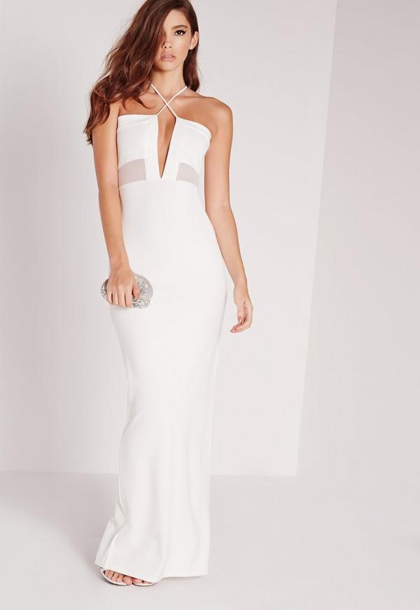 Cross Strap Mesh Insert Maxi Dress White