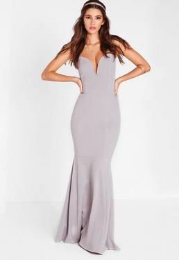 Scuba Bandeau Fishtail Maxi Dress Grey