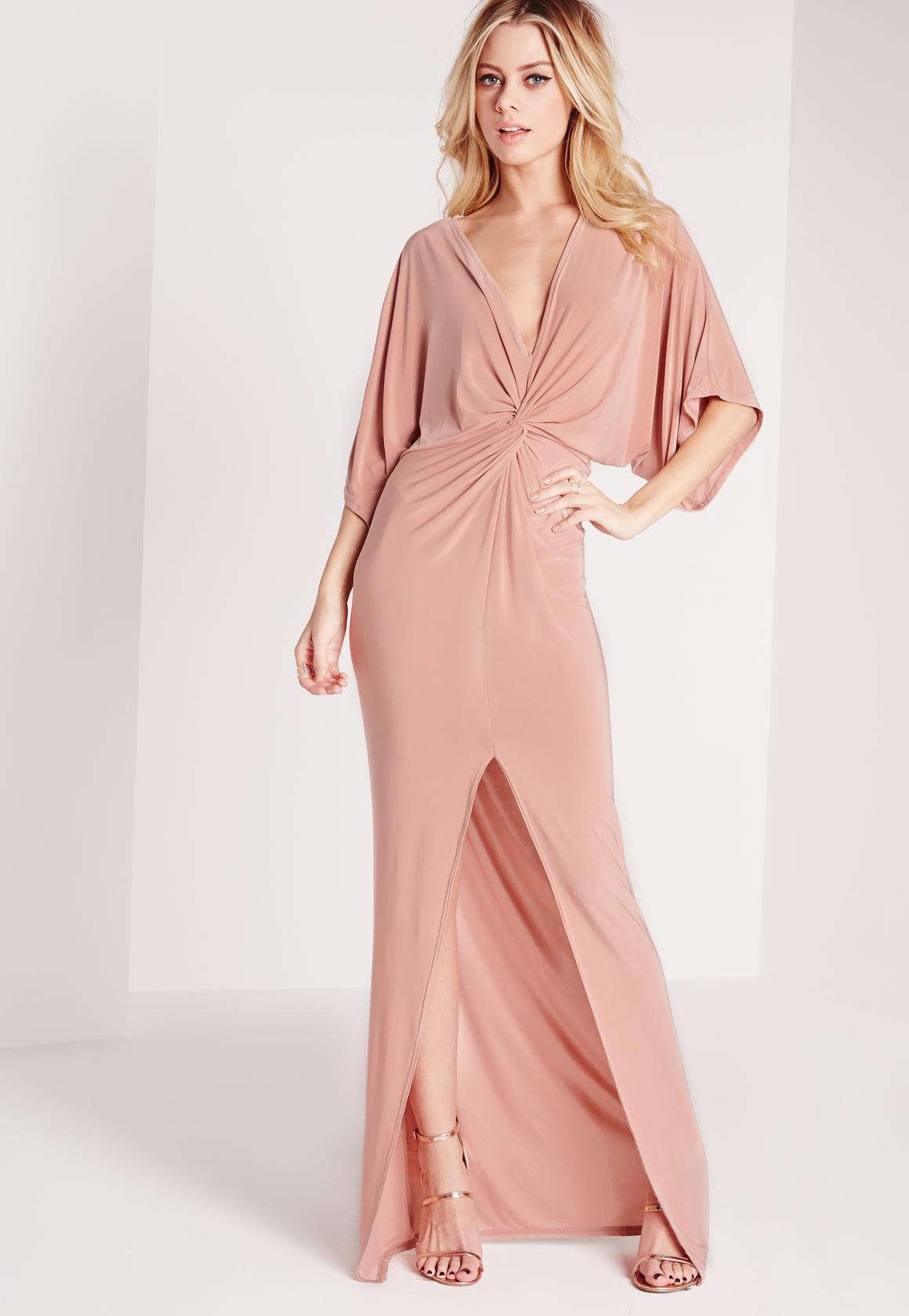 Silky Kimono Maxi Dress Rose Pink - Missguided