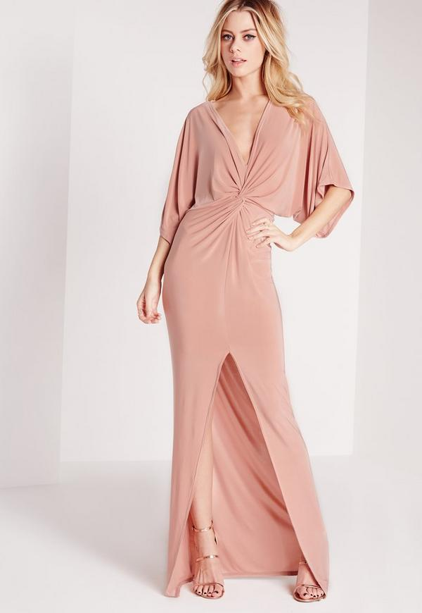 Slinky Kimono Maxi Dress Rose Pink
