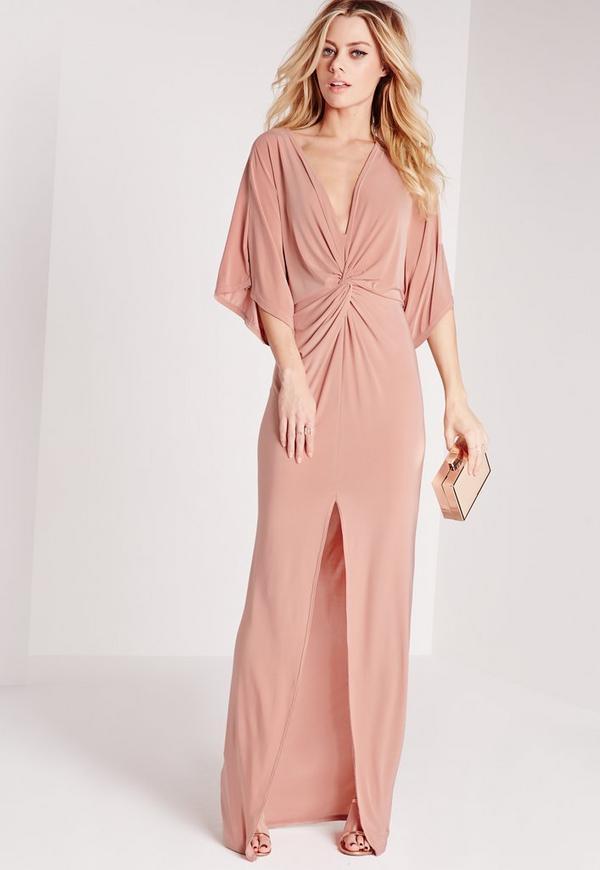 Slinky Kimono Maxi Dress Rose Pink | Missguided
