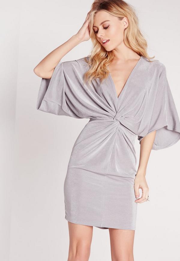 Slinky Kimono Mini Dress Grey