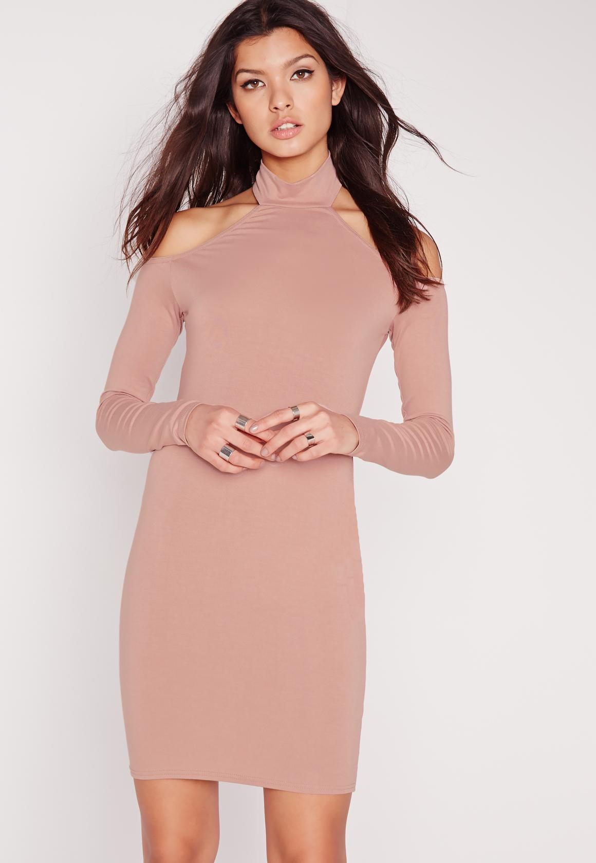 jersey long sleeve choker mini dress pink