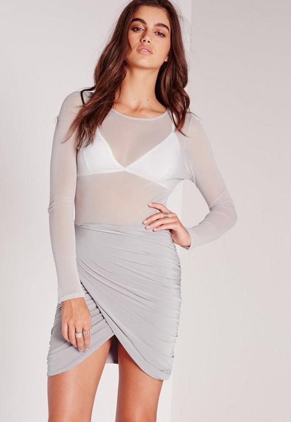 Mesh Top Wrap Mini Dress Grey