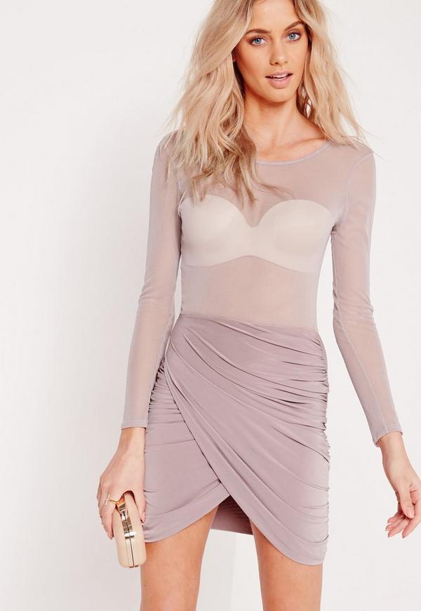 Mesh Top Wrap Mini Dress Mauve