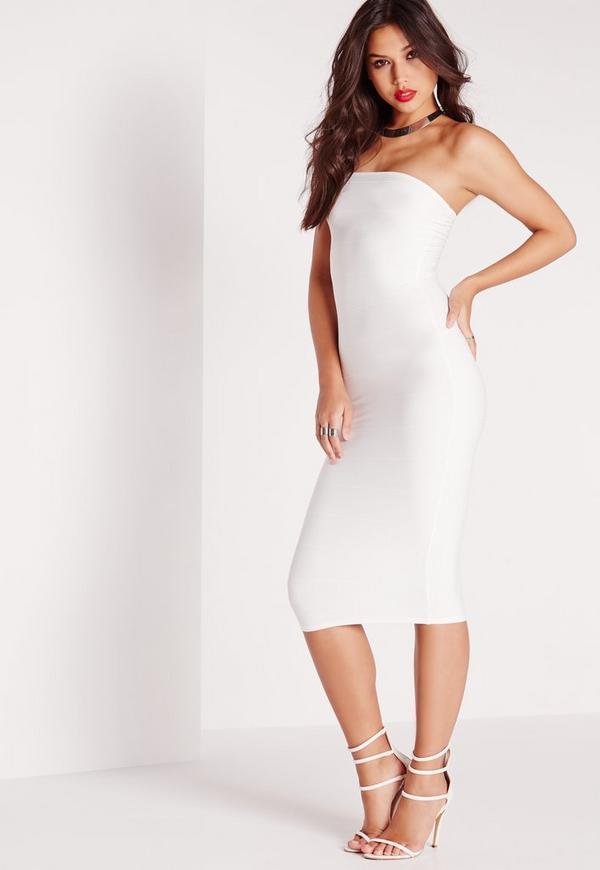 Strapless Bandage Bodycon Midi Dress White