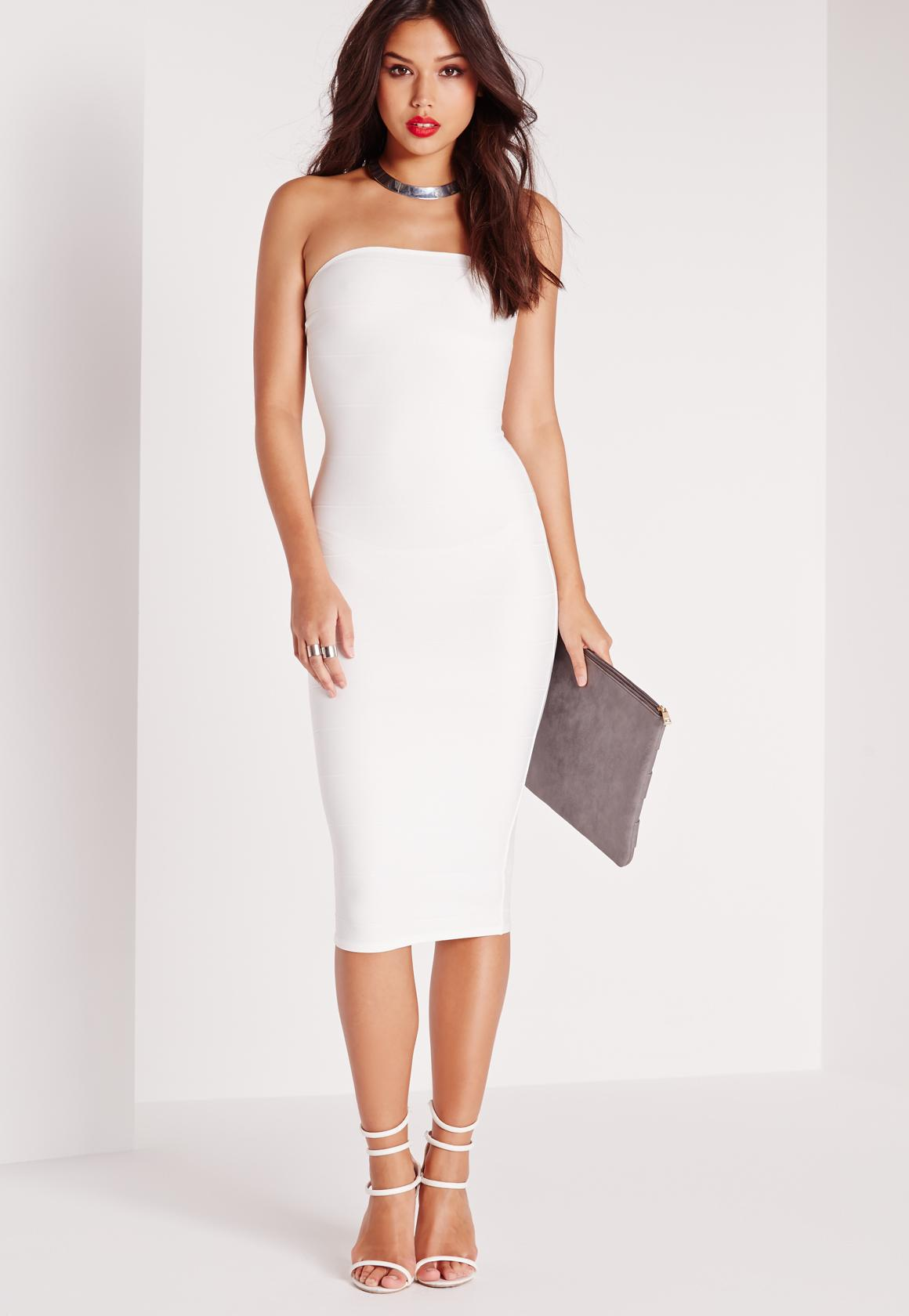 Cheap Visit New Free Shipping 2018 Missguided Strapless Bodycon Midi Dress Get Authentic For Sale Discount Popular Clearance Websites IbsSyqX