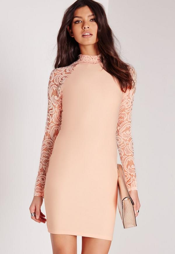 Lace Long Sleeve Bodycon Dress Nude