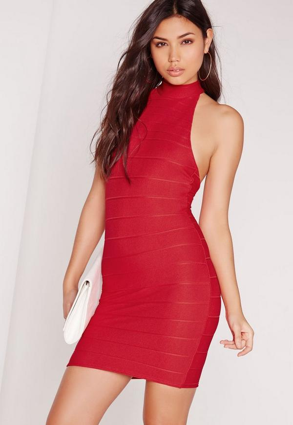 High Neck Bandage Bodycon Dress Red