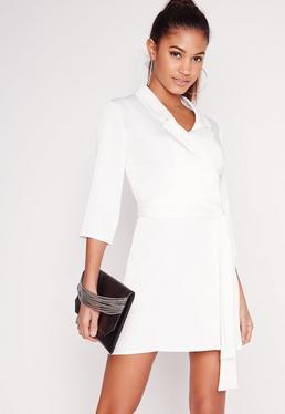 Silky Wrap Blazer Dress White