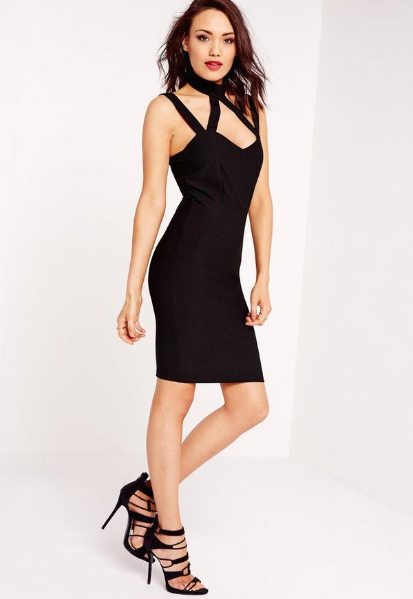 Cut Out Detail Bodycon Dress Black