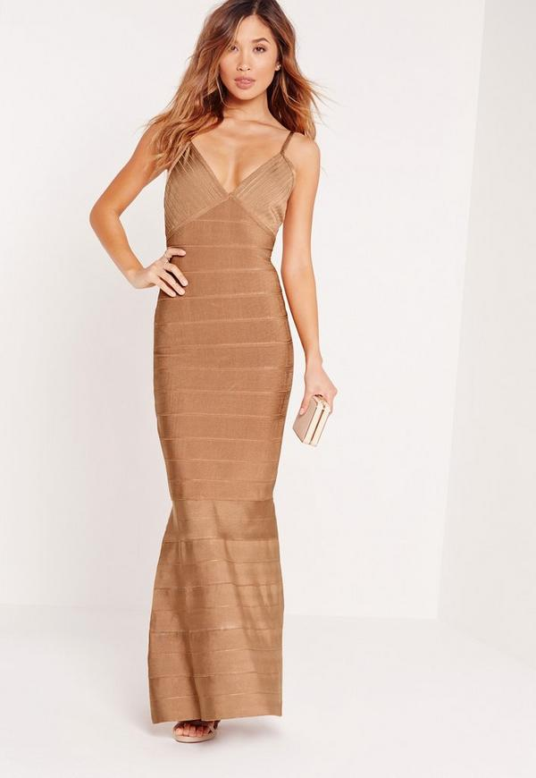 Premium Strappy Bandage Maxi Dress Toffee