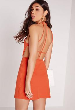 Strappy Back Shift Dress Orange