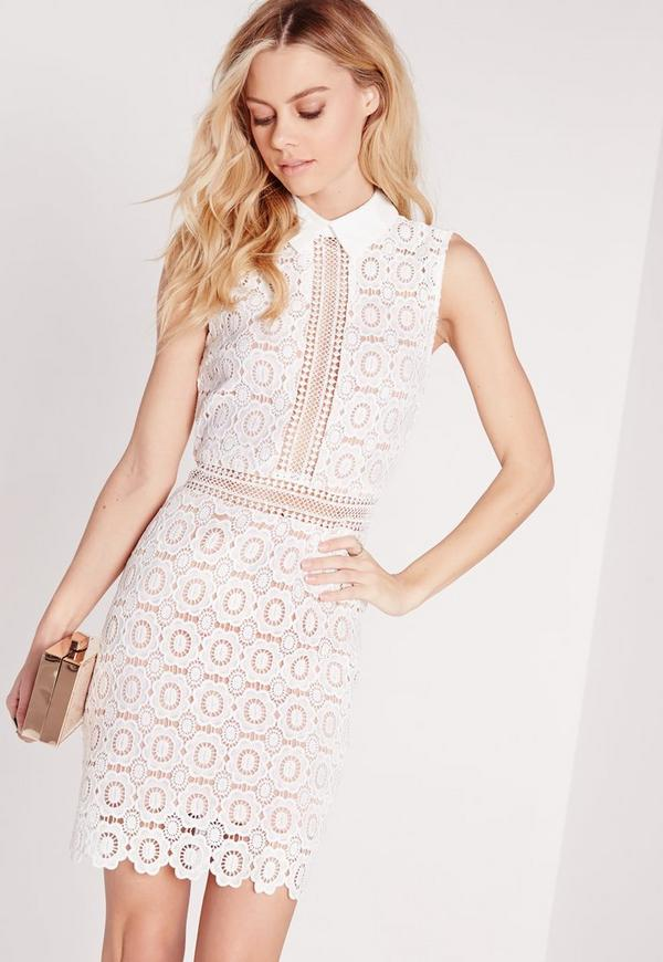 Lace Collared Bodycon Dress White