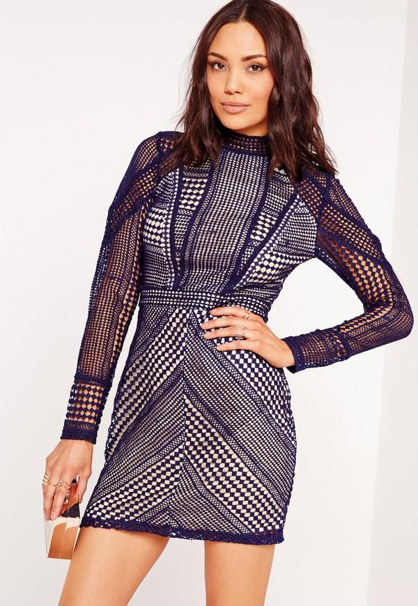 Structured High Neck Premium Lace Mini Dress Navy