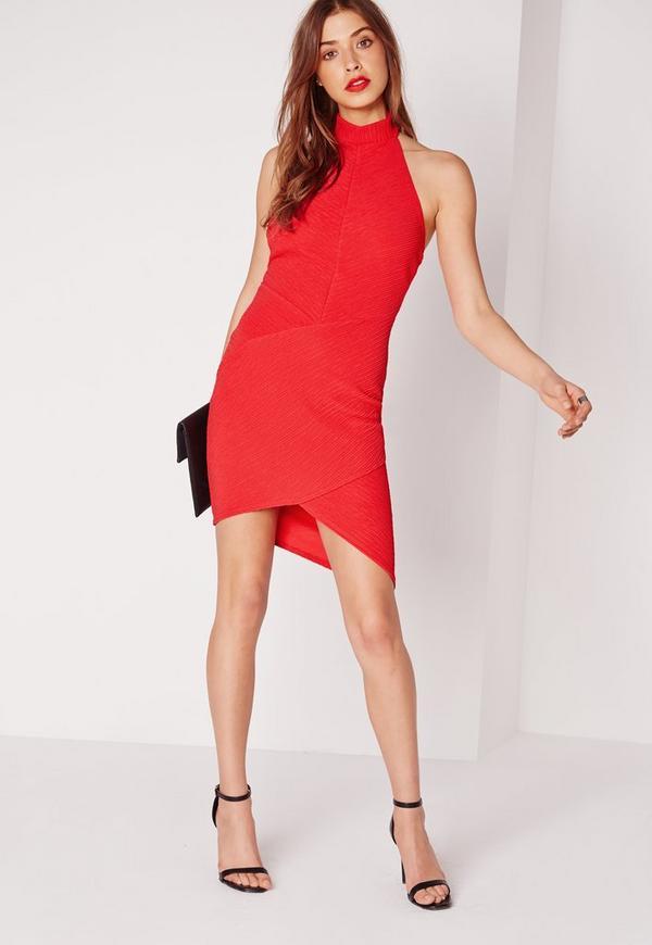 Choker Asymmetric Bodycon Dress Red
