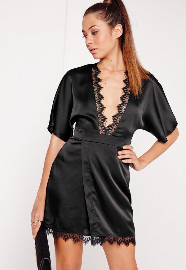 Silky Lace Trim Kimono Wrap Dress Black