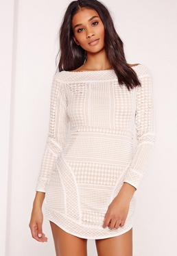 Premium Lace Curve Hem Bardot Bodycon Dress White