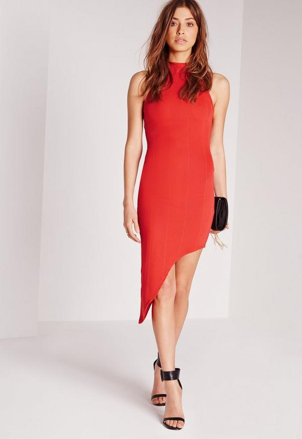 High Neck Bandage Asymmetric Hem Dress Red