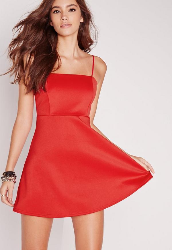 Strappy Square Neck Skater Dress Red
