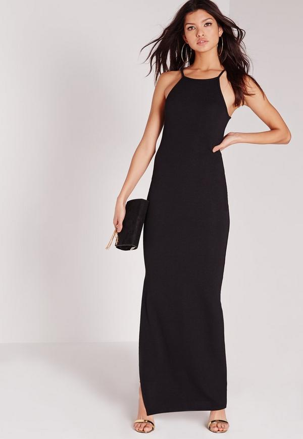 Square Neck Side Split Maxi Dress Black