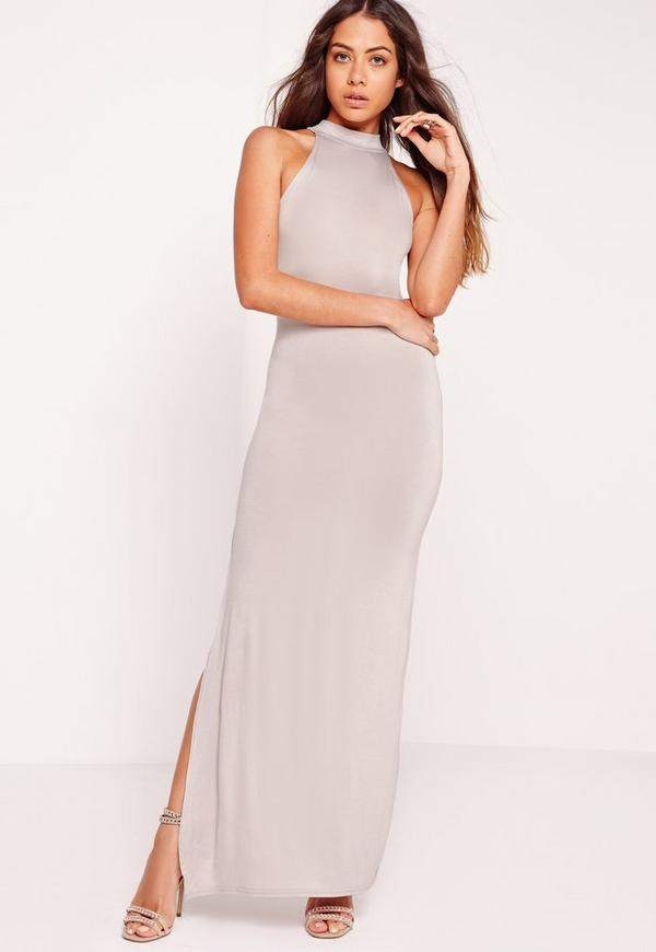 High Neck Maxi Dress Grey | Missguided