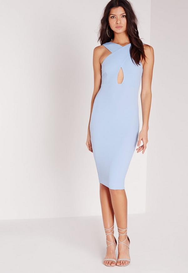 Textured Cross Neck Midi Dress Blue