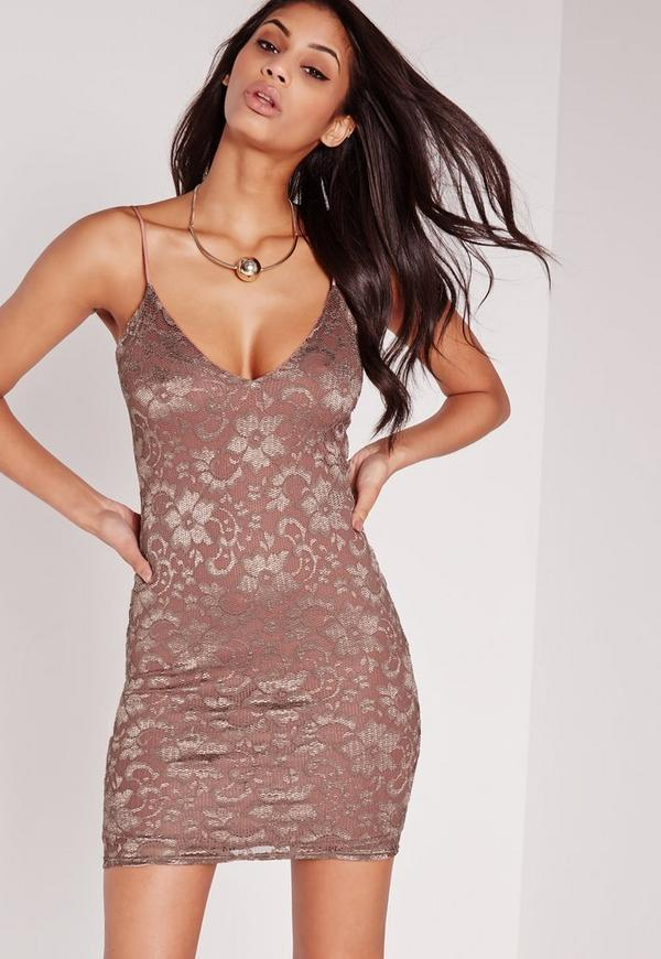 Strappy Lace Bodycon Dress Pink