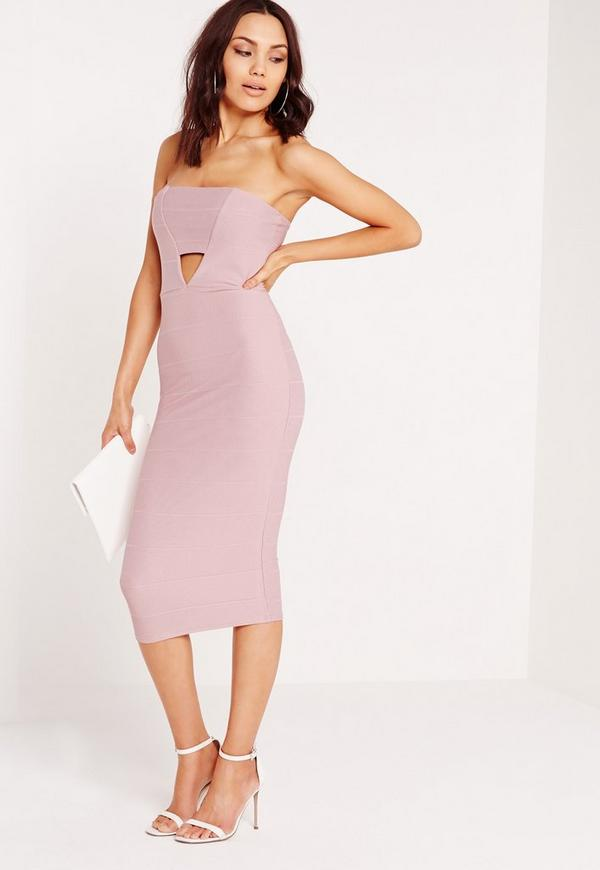 Cut Out Bandeau Midi Dress Mauve