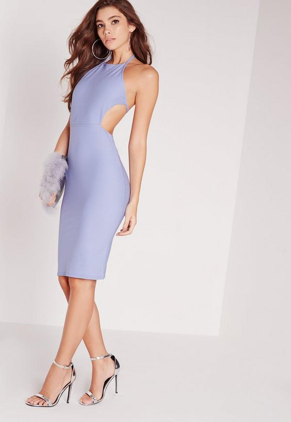halter cut out bodycon dress blue