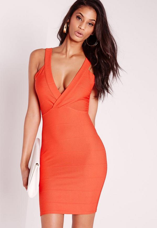 Strappy Bandage Bodycon Dress Orange | Missguided