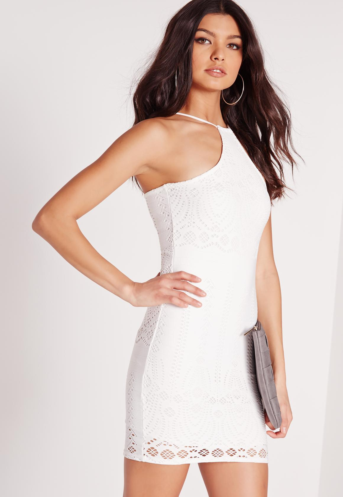 Racer Neck Laser Cut Bodycon Dress White | Missguided