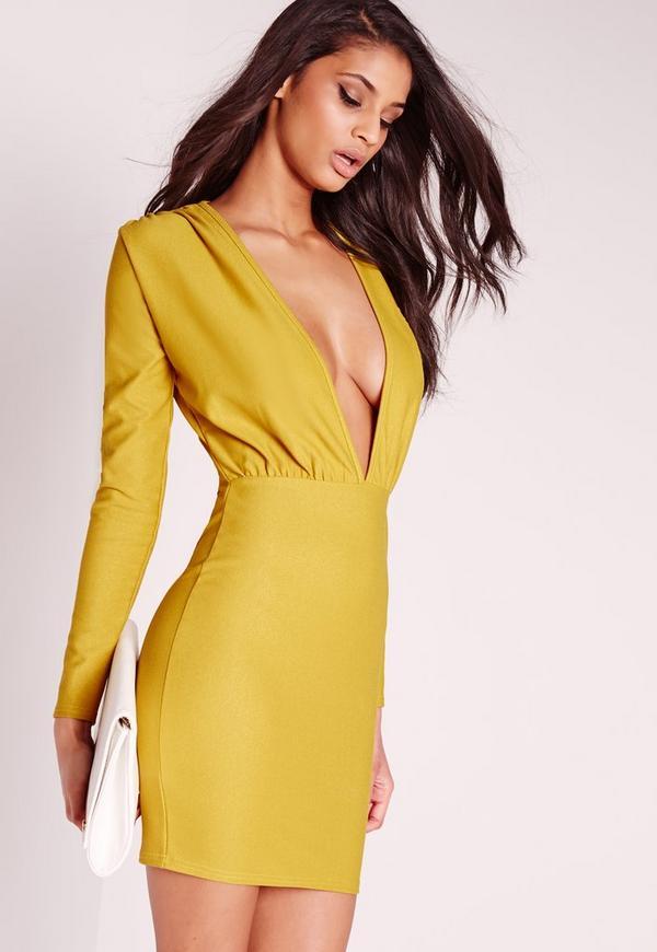 Long Sleeve Plunge Bodycon Dress Green