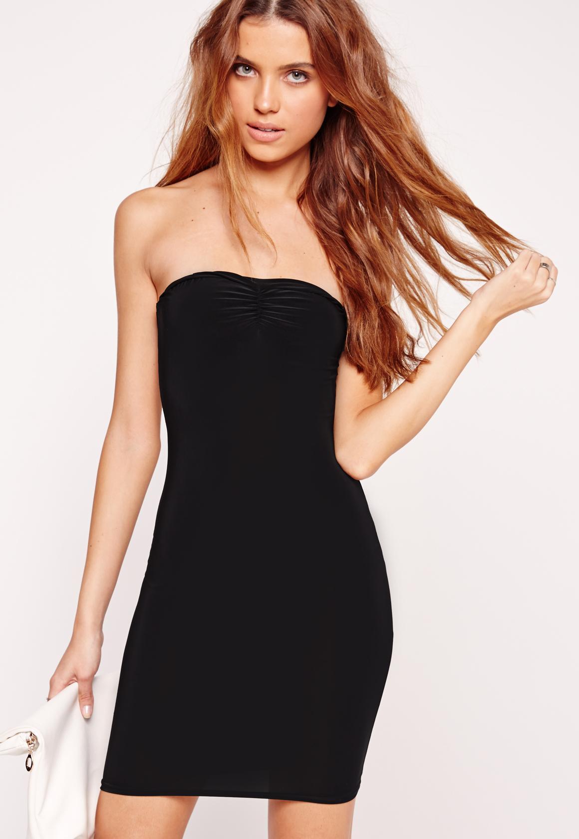 Slinky Bandeau Bodycon Dress Black
