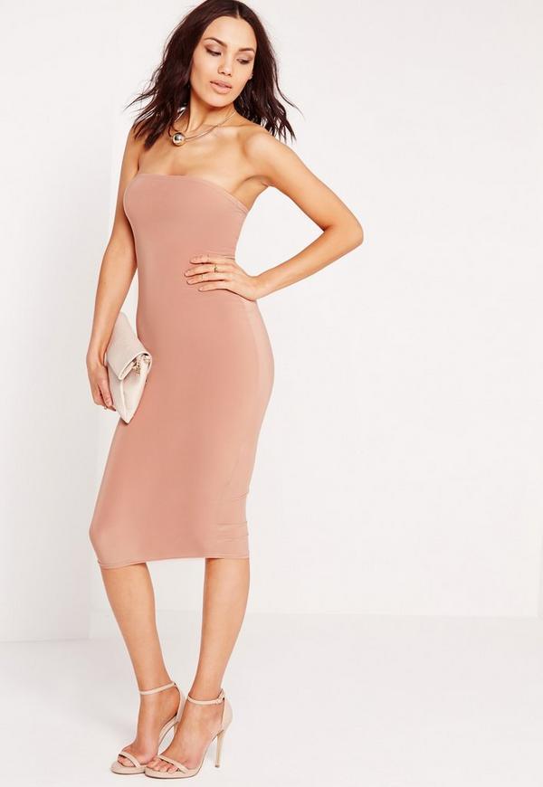Bandeau Midi Dress Pink